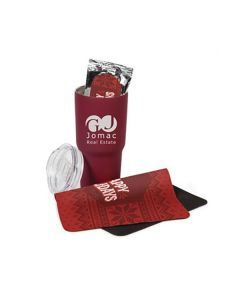 A gift set that contains: One red neoprene mouse mat shown folded slightly in half, one 20 oz red tumbler with its clear lid resting against it and a silver and red coloured pack of coffee that is sitting inside the tumbler. The tumbler has a white custom