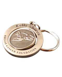 misty copper round shaped moulded and polished keyring with split ring attached