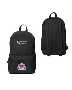 black laptop backsack with full colour logo