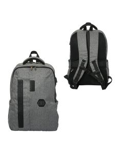 Two images of grey laptop backpack showing front and back view and black logo on front