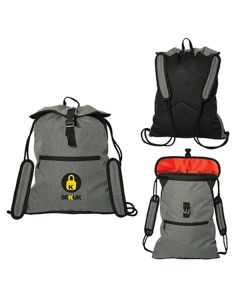 Three different angled images of grey two tone backpacks with full colour logos