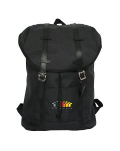 A black laptop knapsack with full colour logo