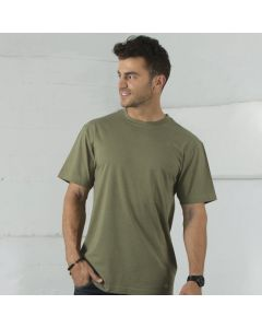 A man wearing an olive coloured cotton and polyester round neck Tee with one hand in his pocket