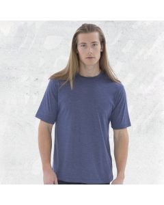 A navy coloured round neck triblend tee being worn by a man with long blond hair