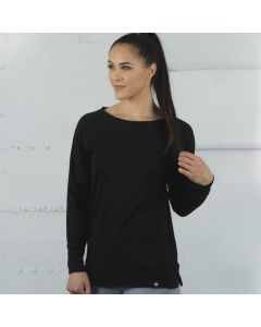 An onyx coloured cotton and polyester open crew ladies fleece beig worn by a woman with a high ponytail and one hand raised to touch the end of the ponytail