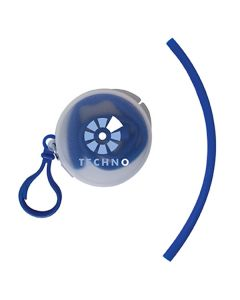 A royal blue silicone straw in a round frost coloured case with a white and blue logo and a royal blue clip on it. Beside this there is a royal blue silicone straw unfolded