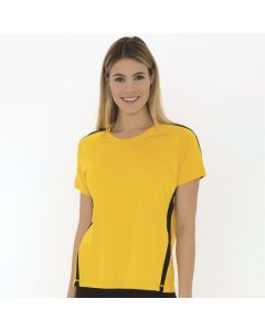 A gold coloured polyester round neck ladies jersey with black accents being worn by a woman with long blonde hair