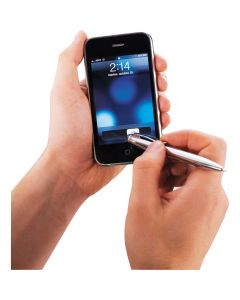 example of stylus use on smartphone for mini ballpoint and stylus combination
