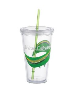 a clear acrylic 24oz tumbler with a green straw and a full colour logo