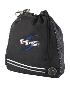 An angled view of black deluxe valuables pouch with blue and white logo