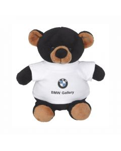 "The front view of a 6"" plush bear wearing a white T-shirt with a full colour logo on it"