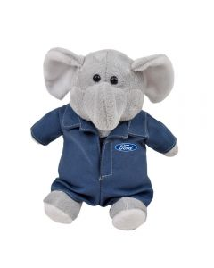 "The front view of a 6"" plush elephant wearing a mechanics outfit with a blue and white logo on it"