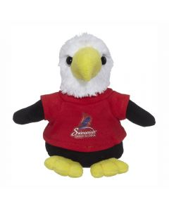 "The front view of a 6"" plush eagle wearing a red T-shirt with a full colour logo"