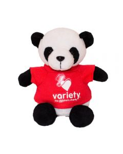 "The front view of a 6"" plush panda wearing a red T-shirt with a white logo on it"
