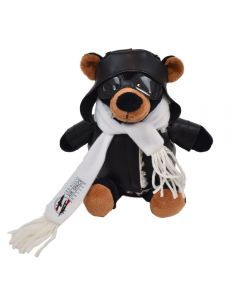"The front view of a 6"" plush bear in a pilots outfit with a full colour logo on their scarf"