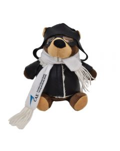 """The front view of a 6"""" plush beaver wearing a pilots outfit with a blue and black logo on their scarf"""