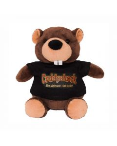 "The front view of a 6"" plush beaver wearing a black T-shirt with a full colour logo on it"