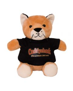 """The front view of a 6"""" cougar plush wearing a black T-shirt with a full colour logo on it"""