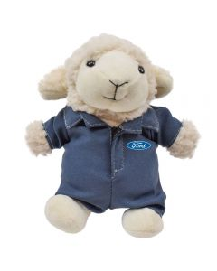 "The front view of a 6"" lamb plush wearing a branded mechanics outfit"
