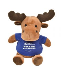 """The front view of a 6"""" moose plush wearing a blue T-shirt with a white logo on it"""