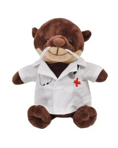 "The front view of a 6"" sea otter plush with a white embroidered doctors coat"