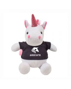 """The front view of a 6"""" plush unicorn wearing a black T-shirt with a white logo on it"""