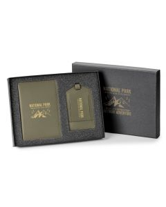A green 2pc gift set with beige logo showing passport holder, luggage tag and packaging