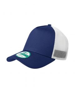 A royal blue and white trucker style snapback cap with a solid blue front panel and brim with a sticker on and white mesh panels for the rest of the hat