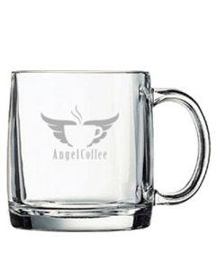 13oz glass mug with grey logo