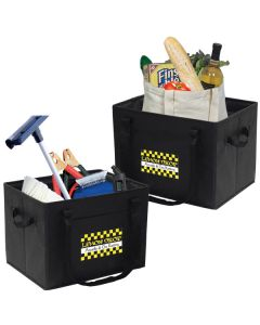 two images of non woven folding cargo carriers with white and yellow logos and different contents in each