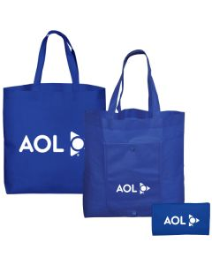 royal blue non woven tote images showing front back and folded views with white logos on each