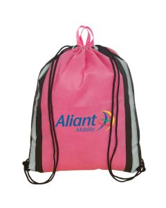 pink and silver panel knapsack with full colour logo