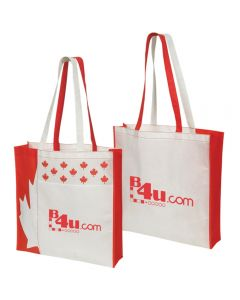Two red and white non woven Canada totes one turned to show the back and both printed with red logos