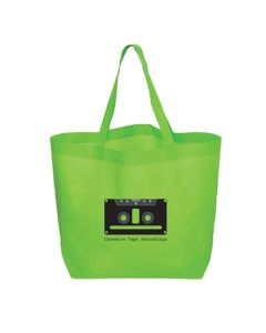 lime green non woven tote with black logo