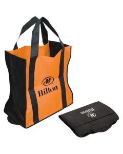 black and orange bag shown in the open and folded positions with black logo on the open and white on the folded