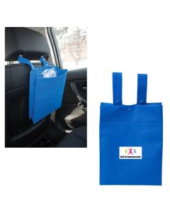 two images of royal blue car litter tote bags one with a full colour logo and one blank with an example of use hanging on the back of a car seat