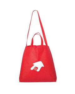 red double handle non woven tote with white logo