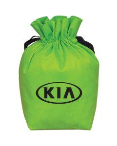 A lime green non woven drawstring pouch with a black logo