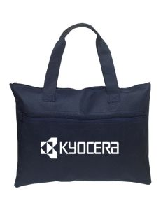 navy blue business bag with white logo