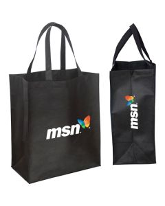 black jumbo grocery tote with full colour