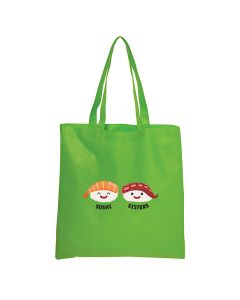 lime green cross hatched tote with full colour logo