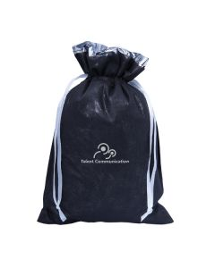 black and silver coloured foil laminated tote bag with white logo