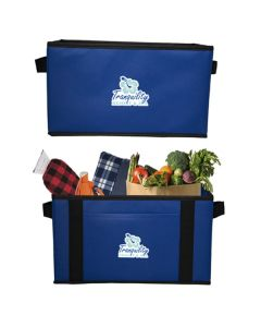 royal blue cargo carrier bag images one empty and one filled and both with full colour logos