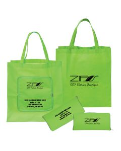two images of open lime green folding totes and two images of the same product in the closed position all with black logos