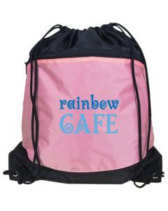 pink with black accent drawstring backpack with light and dark blue logo