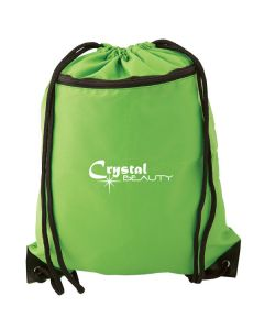 lime green drawstring knapsack with white logo