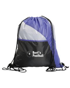 purple and black with grey panel drawstring knapsack with white logo