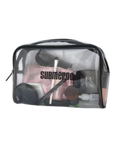 A clear toiletry bag with black trim a black logo and filled with contents