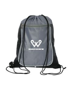 grey with black accents drawstring bag with white logo