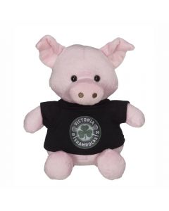 """The front view of a 6"""" plush pig wearing a black T-shirt with a full colour logo"""
